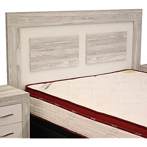 Cabezal cama de matrimonio color artic y soul blanco con melamina textura madera para dormitorio de 160cm ancho x grosor 30MM x 121cm
