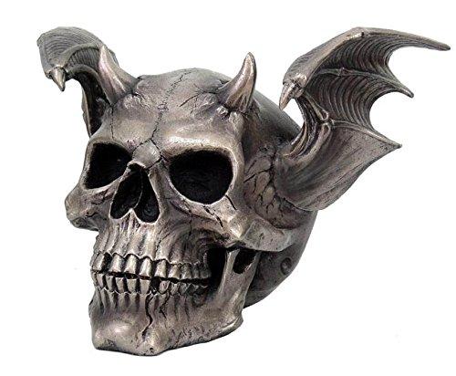 Horned Demon Skull statue Skeleton figurine bat Winged Halloween