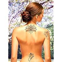 TATTOO ID XXL LOTUS Fleur tatouage ephemere temporaire hypoallergénique Fabriqué en FRANCE 1 planche 22cm x 14,5cm Homme Femme