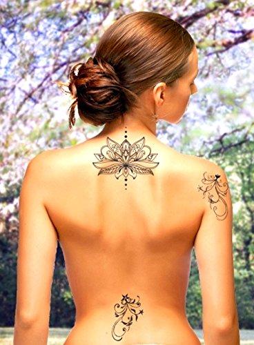 Tattoo ID XXL Lotus Blume Tattoo Ephemere temporäre Hypoallergen hergestellt in Frankreich 1Bogen 22cm x 14,5cm Herren Damen (Kostüm Homme Marque)