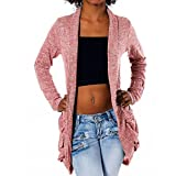 H232 Damen Longshirt Strick Cardigan Jacke Strickjacke Kleid Bluse Lang, Farben:Pink;Größen:Einheitsgröße
