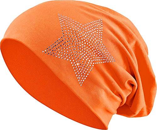 Jersey Baumwolle elastisches Long Slouch Beanie Unisex Herren Damen mit Strass Stern Steinen Mütze Heather in 35 (2) (Orange)