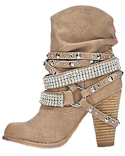 Minetom Ankle Boots Trendige Damen Stiefeletten Blockabsatz Plateau Aprikose EU 37