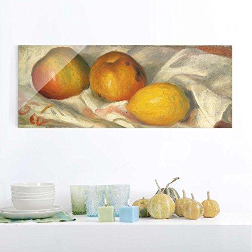 Reifen-servietten (Bilderwelten Glasbild - Kunstdruck Auguste Renoir - Zwei Äpfel und eine Zitrone - Impressionismus Panorama Quer, Wandbild Glas Bild Druck auf Glas Glasdruck, Größe HxB: 50cm x 125cm)