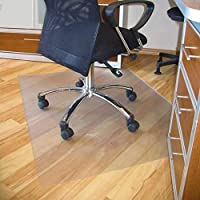 Blackpoolaluk Chair Mat for Hard Floor, 120 x 75 cm Office Chair Mat Desks Mats Large, for Floor Protector Home Office Study Wooden Floors, Transparent Clear PVC Non-Slip Mat