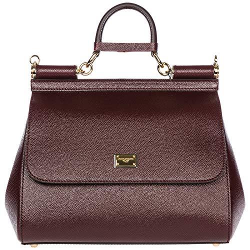 Dolce & Gabbana Leder Handtasche Damen Tasche Bag sicily bordeaux