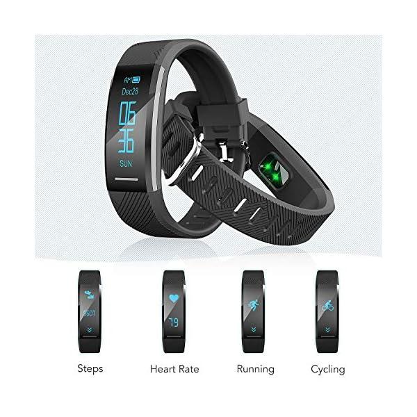 Pulsera de Actividad Inteligente Impermeable IP67, AGPTEK Reloj Deportivo con GPS Podómetro, Monitor de Ritmo, Calorías, Sueño Notificación etc para Hombre Mujer Niños, Negro C11 5