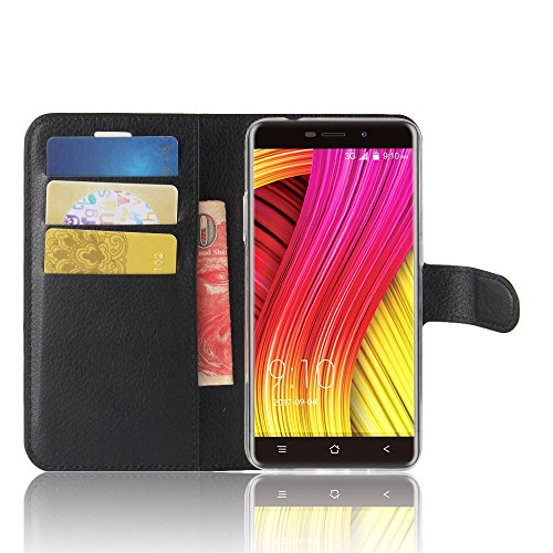 SMTR Blackview A10 Wallet Tasche Hülle - Ledertasche im Bookstyle in Schwarz - [Ultra Slim][Card Slot][Handyhülle] Flip Wallet Case Etui für Blackview A10