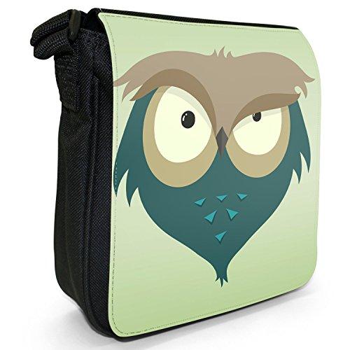 Divertenti Awesome Vecchio Saggio gufi piccolo nero Tela Borsa a tracolla, taglia S Eyebrow Raising Little Owl