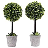 MyGift Künstliche Buchsbaum Topiary Baum in Modernem Grau Pulp Übertopf, Set von 2