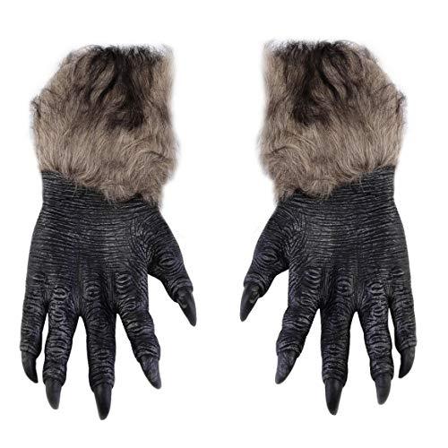Funnyrunstore Halloween Werwolf Handschuhe Latex pelzige Tierhandschuhe Wolf Klauen Halloween Prop Horror Teufel Party Club liefert gruselige Handschuhe (Multicolor)