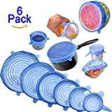 Zhide Silicone Stretch Lids Covers 6 Pack Suction Lid Dishwasher and Freezer Safe with Bright Colors (Blue)