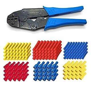 ARLI Crimpzange Set 300x Stossverbinder 100x rot + 100x blau + 100x gelb + 300x Flachsteckhülsen 100 rot 100 blau 100 gelb Steckverbinder Flachstecker Kabelschuhe Quetschverbinder Set kfz Stoß