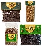 4x PALEO Nudeln Kohlenhydratreduzierte Pasta GLUTENFREIE Nudel 4x 250g von 4 verschiedenen Mehlsorten (eine Auswahl aus Kastanien/Sonnenblumen/Leinsamen/Goldleinsamen/Sesam/Kürbiskern/Kochbananenmehl)