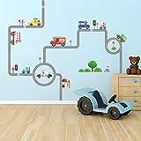 Decowall DW-1604 Straßen Transporte Autos Fahrzeuge Wandtattoo Wandsticker Wandaufkleber Wanddeko für Wohnzimmer Schlafzimmer Kinderzimmer