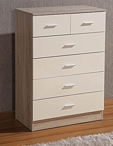 Gladini High Gloss 6 Drawer - Chest of Drawers (4+2) (Cream/Oak)