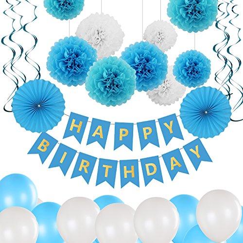 Glittel Geburtstag Party Dekoration Set 40x Deko Zubehör Happy Birthday Banner Grilande mit Seiden Wabenbälle Papierfächer Luftballons Spiralen für Kindergerburtstagsfeier (Geburtstag Banner Anpassen)