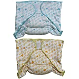 Annapurna Sales 100% Pure Ultra-Soft Cotton New Born Baby Diapers Or Nappies Combo Pack Of 2 Pcs. - Blue & Yellow ( 0 - 6 Months ) !! Skin Friendly And Premium Quality !!