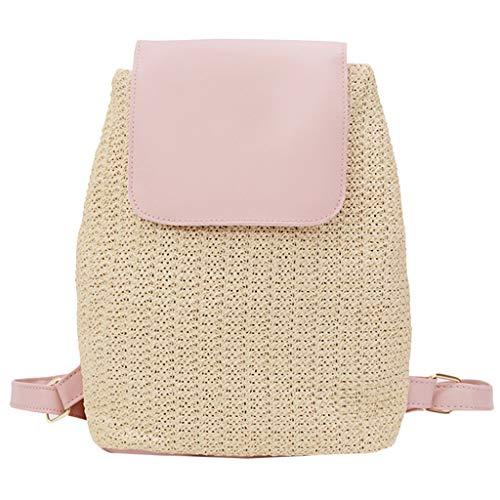 Dorical Stroh Strand Tasche Sommer Damenhandtaschen, Students Rucksack Handtaschen Schulter Tasche Tote Ausverkauf(Rosa) (Speedo-performance)