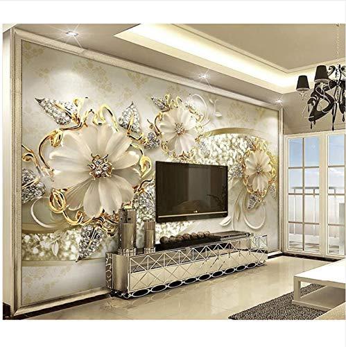 3D Wallpaper Wohnkultur Wohnzimmer Wandverkleidung 3D Wallpaper Metall Diamant Blumenmuster Benutzerdefinierte 3D Wandbild Tapete 200X140Cm