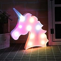 Idea Regalo - QINGYUN, lampada notturna a LED a forma di unicorno, luce per bambini, decorazione da parete per feste e Natale, alimentata a batteria Pink-rainbow Unicorn Head