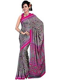 Ligalz Women's Grey Crepe Silk Saree (saree For Women Latest Design 2018)