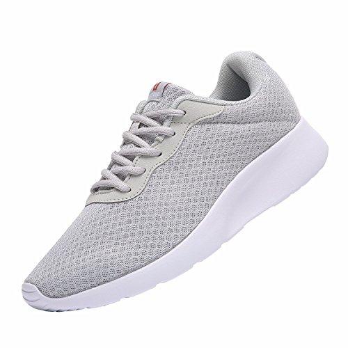 Laufschuhe Herren Casual Sportschuhe Leichte Gym Sneakers Fitness Turnschuhe Mesh Sport Schuhe,Grau/Weiß,EU-45