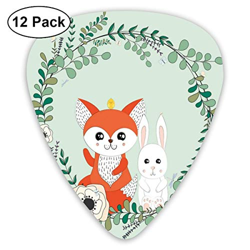 Guitar Picks 12-Pack,Sweet Spring Friends Rabbit And Fox Floral Cartoon -