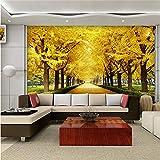 Meaosy Fonds D'Écran3DPour Le Salon Chambre Murale Murales Gold Forest Photo Fonds D'Écran Paysage Rue Peintures Murales Peinture Murs 3D-200X140cm
