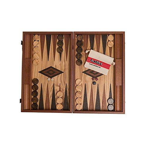 ROMBOL Backgammon, Luxus Kassette, Intarsie, Oliven-Wurzelholz, 47,5 cm