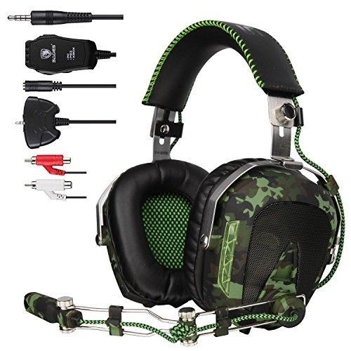 Sades sa926Hubschrauber über Ohr PC Gaming Headset Gamer Kopfhörer mit Mikrofon Kompatibel mit PS4Xbox One Handy Mac Laptop–Army Grün
