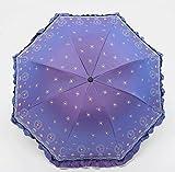 Sucastle Chameleon, vinilo, plegable, paraguas, creativo, Rose, amor, falda, princesa, paraguas del sol, UV, lluvia, paraguas Sucastle: Color: Luz púrpura: tamaño: Curvatura; 110cm:; Longitud del mango los 65cm