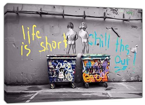 Banksy Kids Life is Short Kunstdruck auf gerahmter Leinwand, Schwarz/Weiß, 40'' x 30'' inch(102x 76 cm)-18mm depth