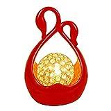 Swan Lights - Rot, E27 Wohnzimmer Schlafzimmer Flur Art Deco Tischlampe, Kristall Chrom Metall Lampenschirm (rund) Schlafzimmer Nachttischlampe