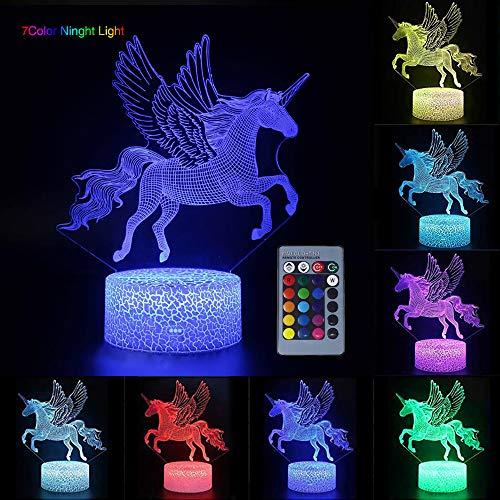 Unicornio 3D Luz nocturna para niños, LED USB Luces nocturnas Ilusión Caballo Lámpara de mesa táctil Luces con control remoto para la decoración del partido Presentes de cumpleaños(Flying Unicorn)