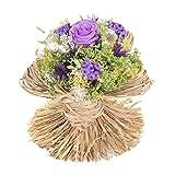 Bouquet Raffia (Milka) Sanremo fiori essiccati dalla Riviera dei Fiori con rosa stabilizzata ...