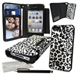 LOVE MY CASE / Black & White Snow Leopard Pu Leather Wallet Case with Removable Hard case with Screen Protector, Stylus & Exclusive LMC Cleaning Cloth for Apple iPhone 4S / 4 /