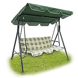 Relaxdays 3er Outdoor Garden Swing mit Grün gepolstert-beige