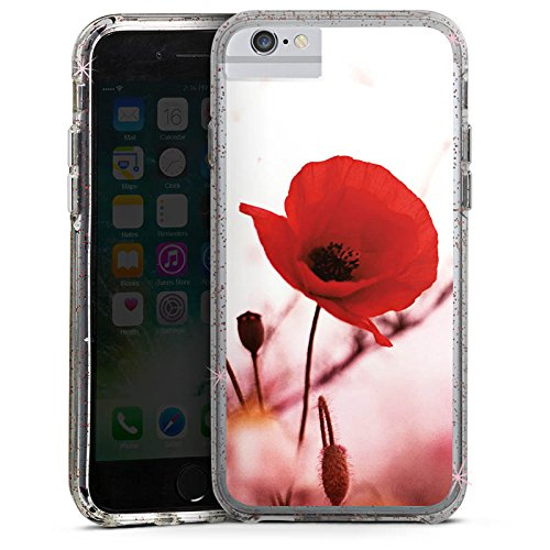 Apple iPhone 8 Bumper Hülle Bumper Case Glitzer Hülle Mohnblume Klatschmohn Sommer Bumper Case Glitzer rose gold