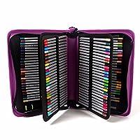 yimoji 160Slots PU Leder großes Fassungsvermögen farbigen Bleistift Bleistift Tasche für Arts violett