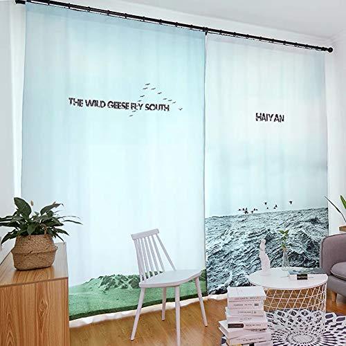 BZ-ZXS Vorhang Fenster Behandlungen VorhäNge Amerikanischen Land Baumwolle Und Leinen NäHte Halbschatten Nordic Wohnzimmer Schlafzimmer Studie Bildschirm Pflanze GrüNes Blatt,Blue,2*W90*L90 (Vorhänge Badezimmer-fenster Land)