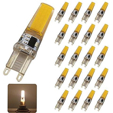 20Stück LED Leuchtmittel G9,5W LED COB SMD, Warmweiß 2700–3200K, 220V, Leuchtmittel LED, 300LM, Abstrahlwinkel von 360Grad, entspricht der Halogenlampe 50W, geeignet für Küche Büro