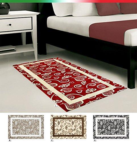 Arrediamoinsieme-nelweb tappeto arredo cuori sala salotto scendi letto moderno in ciniglia retro antiscivolo 5 misure mod.like 1 66x100 beige (b)