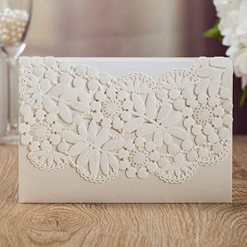 AOWEIRILUV 10 Stück Weiße Hochzeitseinladungskarten Leere Geburtstagseinladungskarten Grußkarten Hochzeitseinladungskarten mit Umschlägen