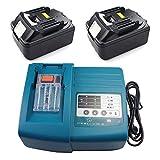Chargeur & 2x Batterie pour Makita BL1830DC18RA dc18rc [Chargeur 7,2V-18V Li-Ion avec Makita BL183018V 3,0Ah Li-Ion]