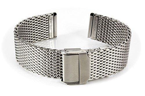 20mm Milanaise-Armband poliert Mesh Uhren-Armband mit Edelstahl-Schließe inklusive 2 Federstege