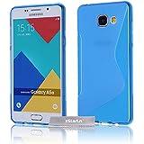 zStarLn® bleu Étui Housse Souple en Silicone pour Samsung Galaxy A5 2016 Coque S-Line Transparente TPU Gel Backcover + Film protecteur d'écran offerts