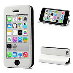White iPhone 5C Protective Leather Flip Touch View Case Cover