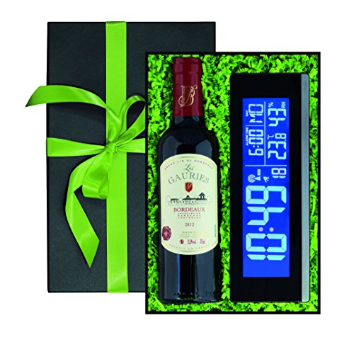 Ideal als Geschenk: 1 Flasche Rotwein Les Gauries Bordeaux, 0,375 l, 1 multifunktionale Color-Datenstation mit USB Port, Hygrometer und Funkuhr