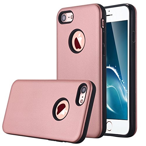 iPhone 7, iPhone 7 Case, lontect Dual Layer Hybrid Custodia protettiva rigida posteriore PC + TPU custodia morbida antiurto Case Cover Per Apple Iphone 7 4,7 rose gold